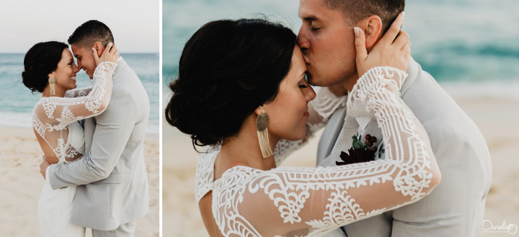 bride and groom kiss in destination wedding cabo photographer