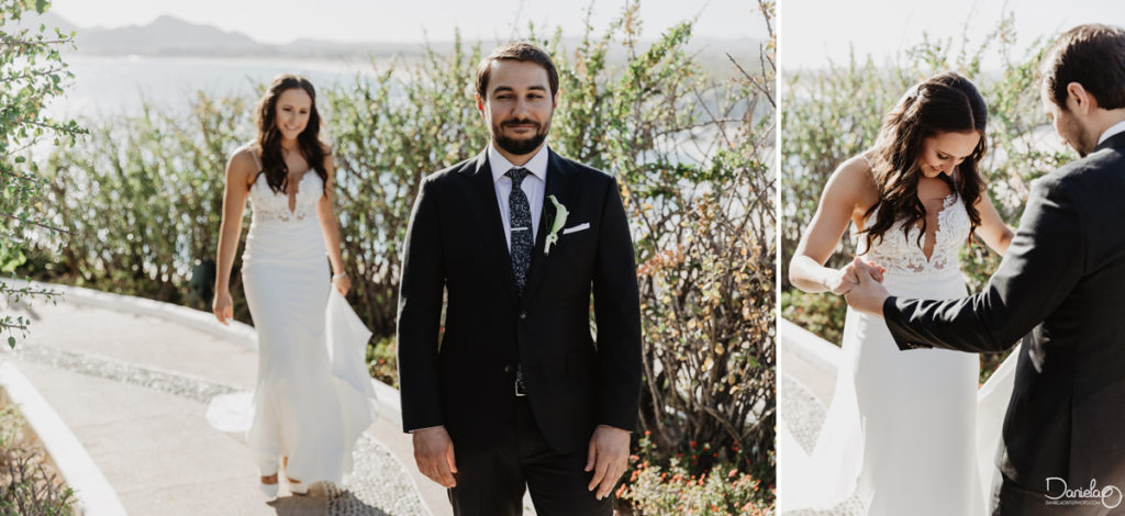 First Look Wedding Sunset Monalisa Cabo Mexico Photographer