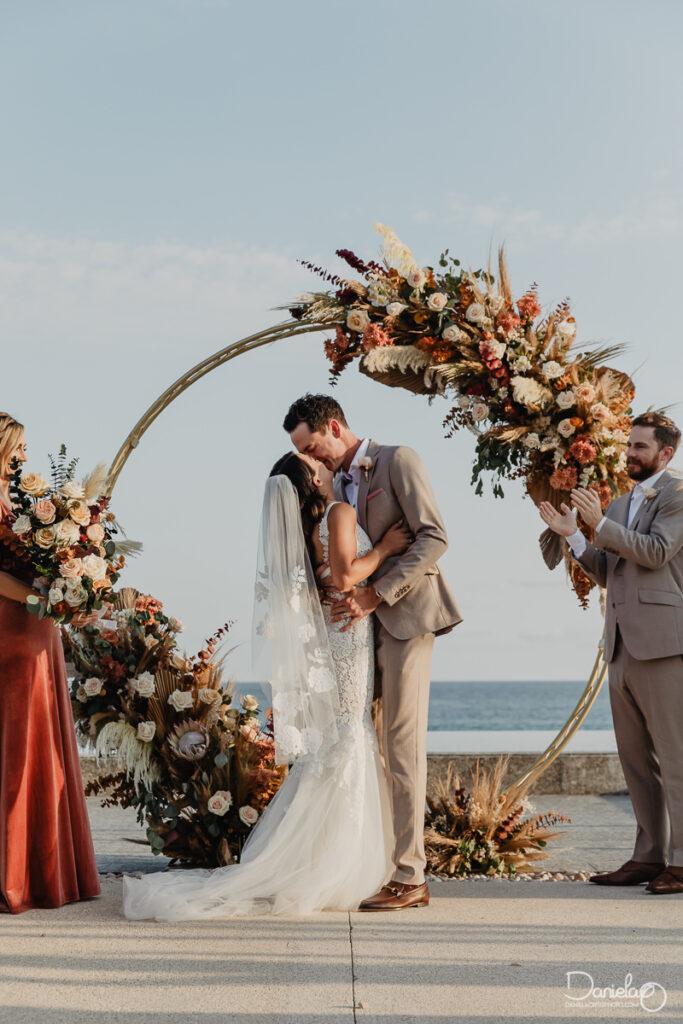 Wedding first kiss, Cabo Boho wedding