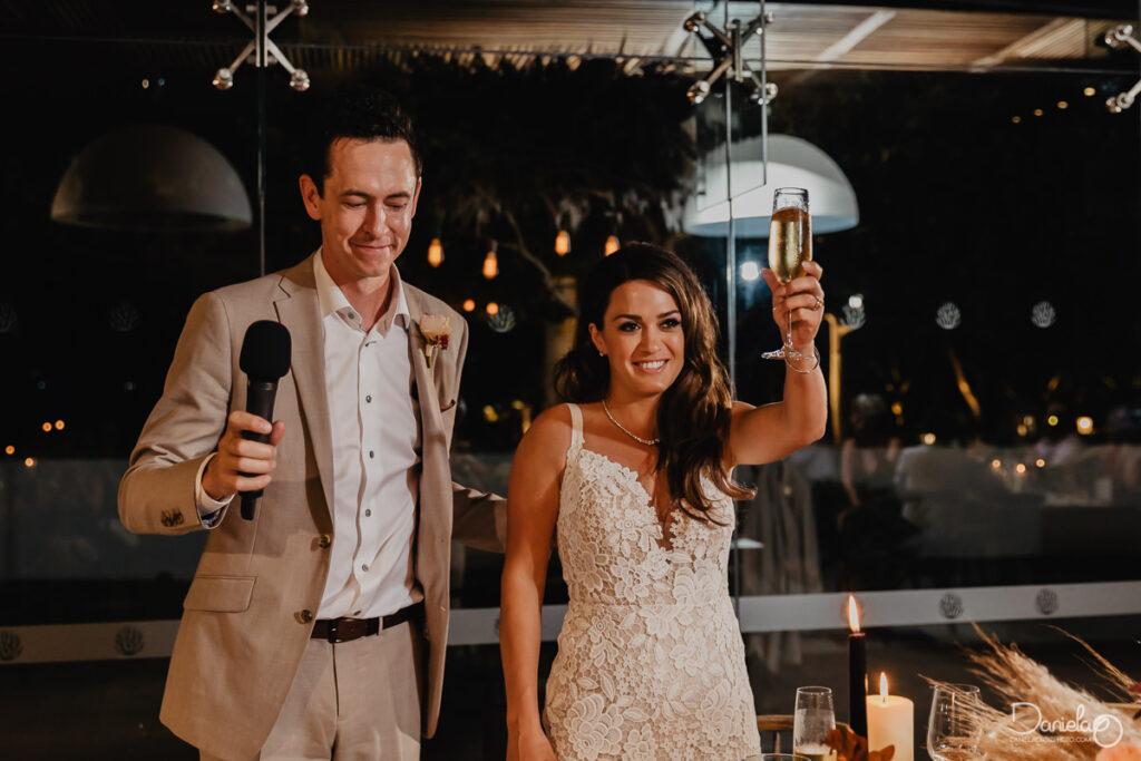 Cabo Boho wedding at Solaz toast