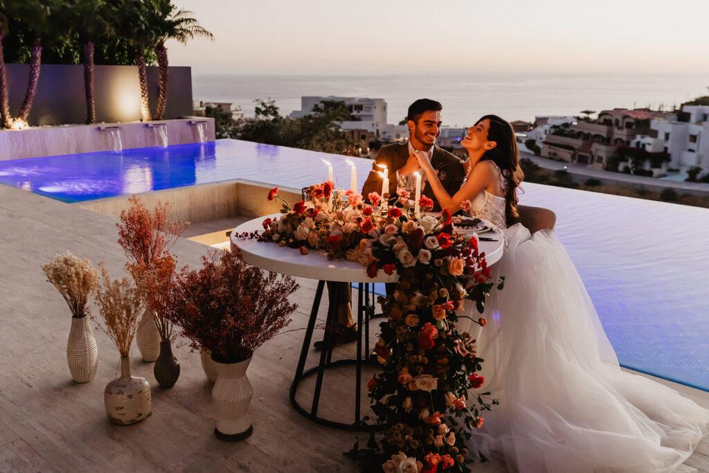 Romantic dinner Cabo private Wedding villa