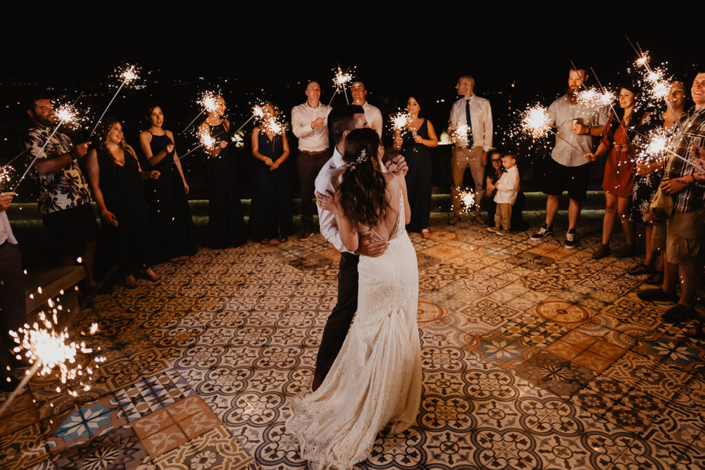 wedding first dance with sparklers Los Cabos