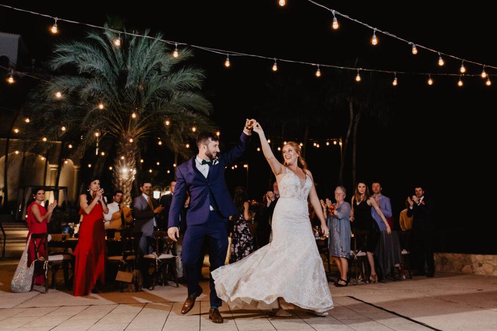 Bride and groom dancing Baja wedding
