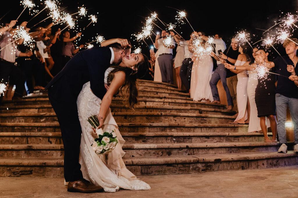 Sparklers at a Wedding at Sandos Finisterra
