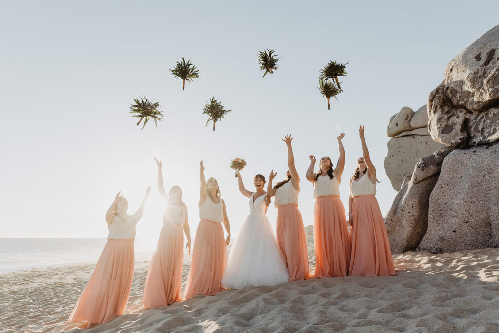 Bride and bridesmaids beach photo session