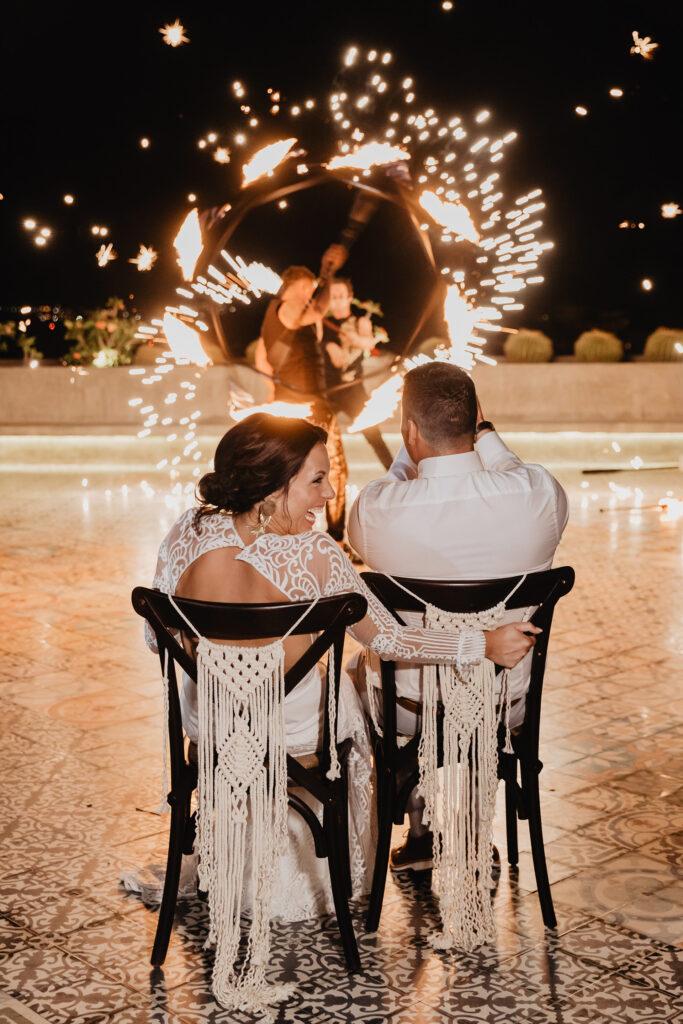 Wedding at Sandos Finisterra los Cabos fire dancing